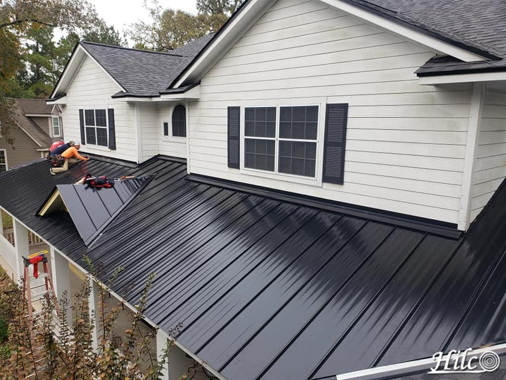 Black metal covered porch