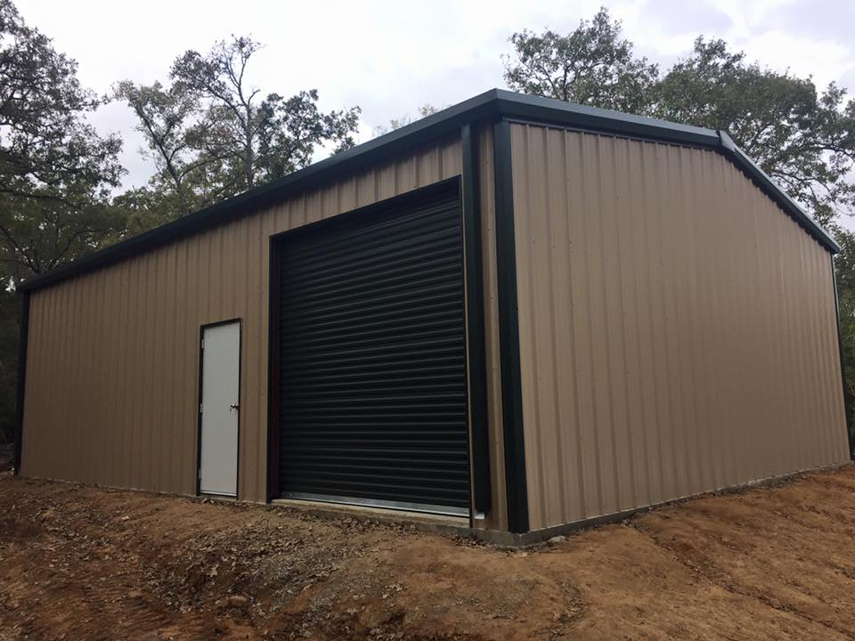 Tan/Sand Steel Shop with green trim