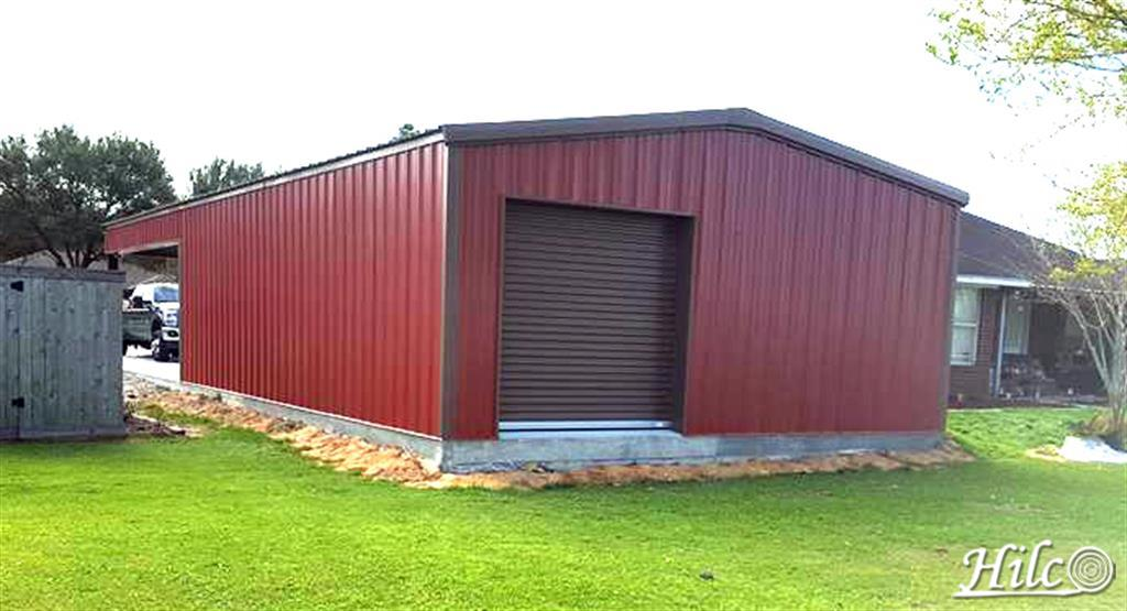 Red Metal Storage with Garage